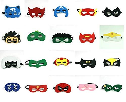 Superhero Party Supplies Superhero Masks - for Kids - Custom Design Superhero Bag - 20 PCs Different Party Favors Cosplay for Boys and Girls - Party Masks Photo Booth Props ()