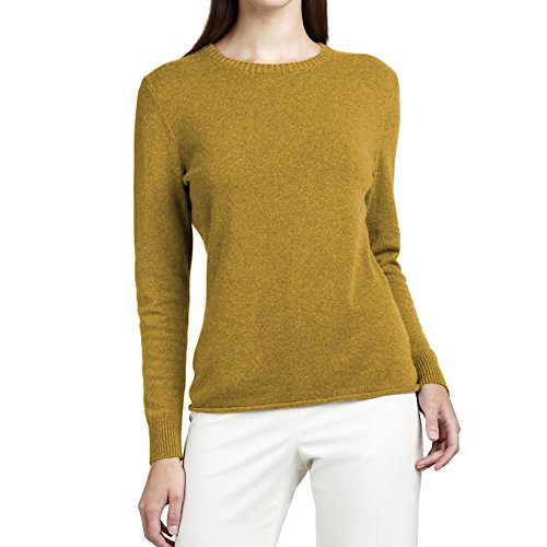 Parisbonbon Women's 100% Cashmere Crew Neck Sweater Color Goldenrod Size M by Parisbonbon
