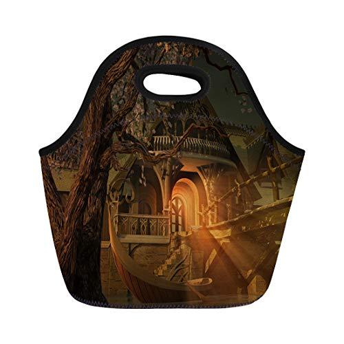 Semtomn Lunch Bags Elven Elf Scene Elvenhouse Wooden Bridge and Elvenboat House Neoprene Lunch Bag Lunchbox Tote Bag Portable Picnic Bag Cooler Bag -