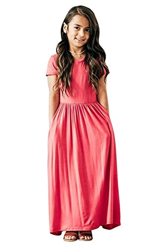 Miss Bei Girls Dresses Short Sleeves Dress Summer Long Holiday Maxi Dress with Pocket Size 4-10T(Light Pink, 4-5Years/100cm) Big Kids Light Pink Apparel