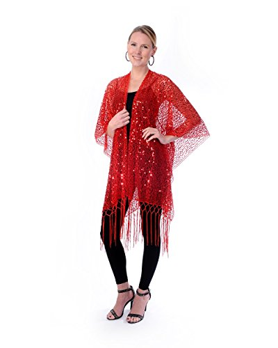 (Womens Mother Of The Bride Beaded Fashion Shawl Tunic Poncho Cover up Top (Red))