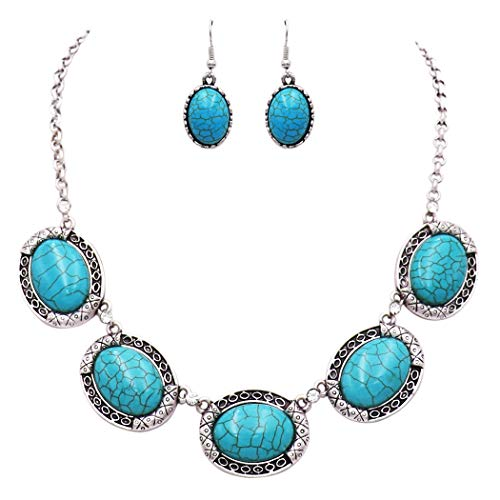 Rosemarie Collections Women's Southwestern Style Concho Oval Turquoise and Crystal Rhinestones Statement Necklace Earrings Set