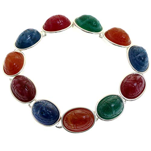Mi Amore Scarab Etching Magnetic Clasp Bangle-Bracelet Silver-Tone & Multicolor from Mi Amore