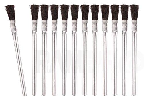 RAM-PRO 12 Flexible Horsehair Bristle Tin/Metal Tubular Ferrule Handle Acid/Flux Brushes for Home/School/Shop/Garage