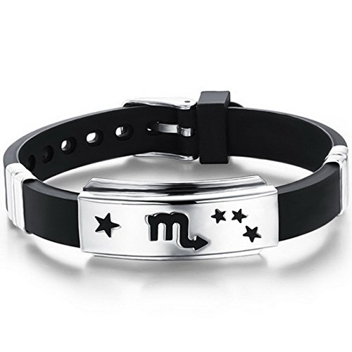 MOWOM Black Silver Tone Stainless Steel Rubber Bracelet Bangle Cuff Scorpio...