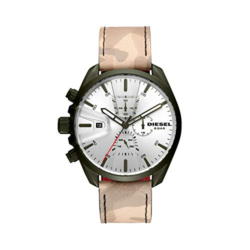 (Diesel Men's Ms9 Chrono Stainless Steel Quartz Watch with Leather Calfskin Strap, Multi, 22 (Model: DZ4472)