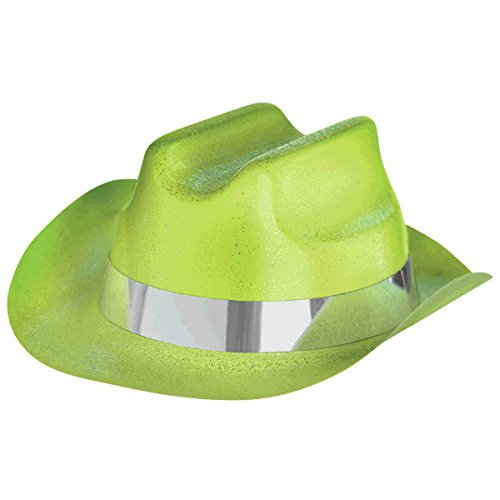 Amscan Neon Green Glitter Mini Cowboy Hat Costume Party Headwear Childrens , 12 Pieces -