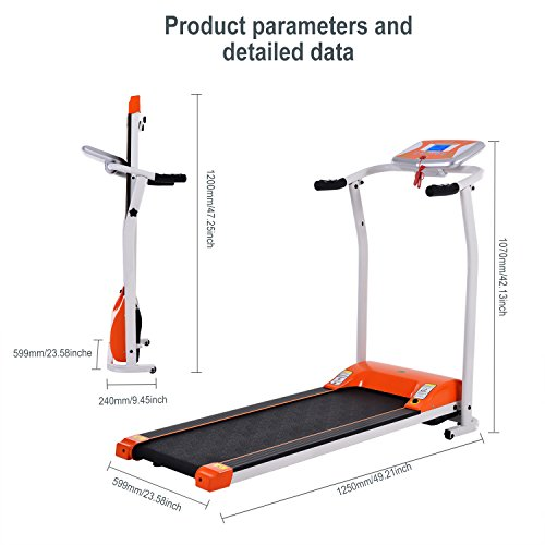 Folding Electric Treadmill Running Machine Power Motorized for Home Gym Exercise Walking Fitness (1.5 HP - Orange - Not Incline) by ncient (Image #4)