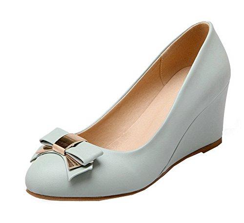 material Solid sin blando Shoes Blue punta Mujeres Heels de Pumps kitten redonda cordones VogueZone009 Eq4pB