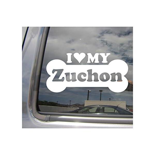 I Heart Love My Zuchon - Dog Bone Bichon Frise Shih Tzu Designer Mixed Hybrid Breed Cars Trucks Moped Helmet Surfboard Auto Automotive Craft Laptop Vinyl Decal Store Window Wall Sticker 14063 1