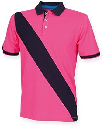 856d3ce9c3 Front Row Men's Polo Shirt Bright Pink - Navy M: Amazon.co.uk: Clothing