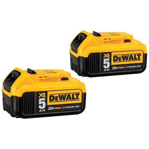 DEWALT DCB205-2 20V MAX XR 5.0Ah Lithium Ion Battery, 2-Pack by DEWALT