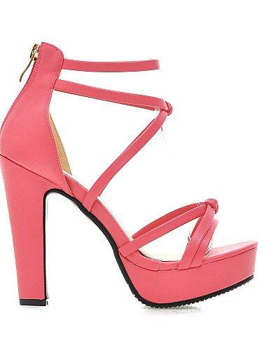LFNLYX Zapatos de mujer-Tacón Robusto-Tacones / Plataforma-Sandalias-Vestido / Casual / Fiesta y Noche-Semicuero-Negro / Rosa / Blanco / Black