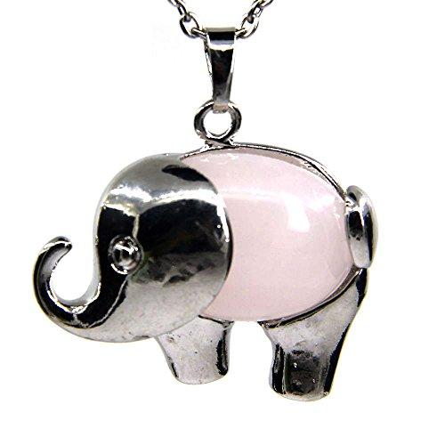 Amandastone Pink Quartz Gem Semi Precious Gemstone Crystal Quartz Charm Elephant Pendant Necklace 20