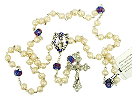 DTC Our Lady Rosary with Blue Cloisonne Our Father Prayer Beads