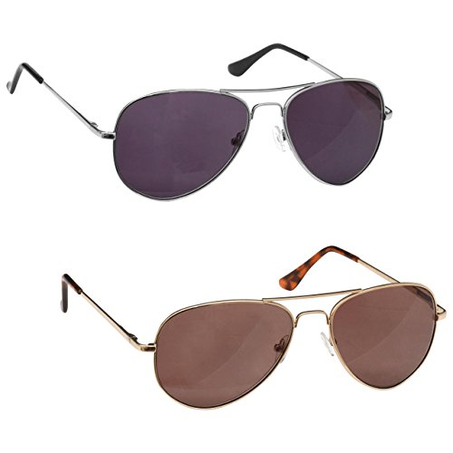 The Reading Glasses Company Silver & Gold Sun Readers Value 2 Pack UV400 Aviator Style Mens Womens Inc Bag SS8-89 - Glasses Sun Company