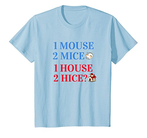 Kids 1 Mouse 2 Mice 1 House 2 Hice? Funny Grammar T-shirt 12 Baby ()
