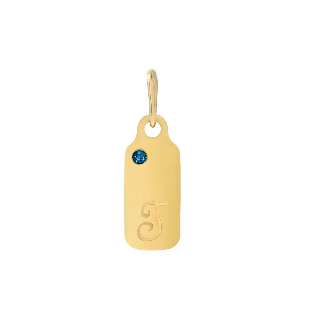 14k Gold Blue Topaz December Birthstone Cursive Letter T Dog-tag Necklace