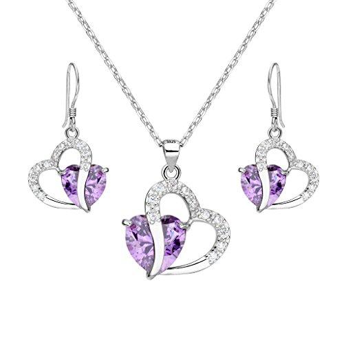 EleQueen Sterling Zirconia Necklace Earrings