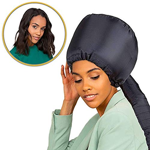 Bonnet Hood Hair Dryer Attachment - Soft Adjustable Hooded Bonnet for Hand Held Hair Dryer - Mask Cap for Drying Styling Curling Deep - Ionic Soft Bonnet