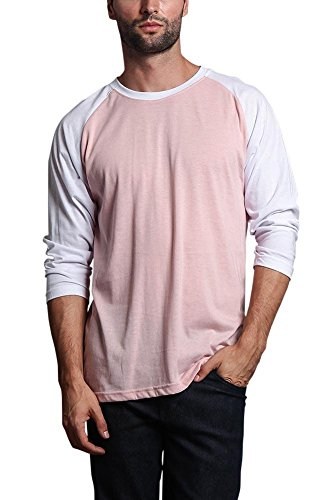 Victorious Men's Baseball T-Shirt TS900 - Dirty Pink/White - X-Large
