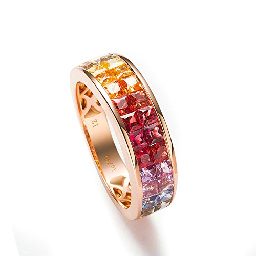 MoAndy 18K Gold Ring for Women Hollow Double Row Square CZ Rose Gold Size 6.5 by MoAndy
