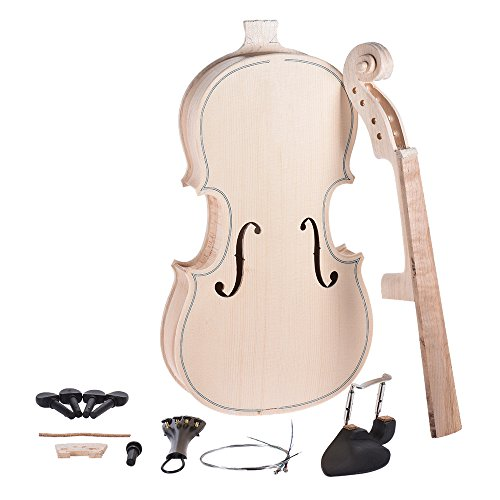 ammoon DIY 4/4 Full Size Natural Solid Wood Violin Fiddle Kit Spruce Top Maple Back Neck Fingerboard by ammoon