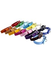 """TenCloud® PU Soft Newborn ID Collar Adjustable Buckle with Bell Set of 16 for Large Breed Puppies 6""""~12"""""""