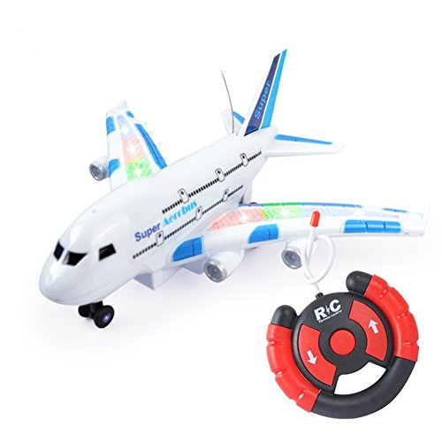 Amyove Airplane Toy Remote Control Airplane A380 Smart Electric Airbus with Flashing Lights by Amyove