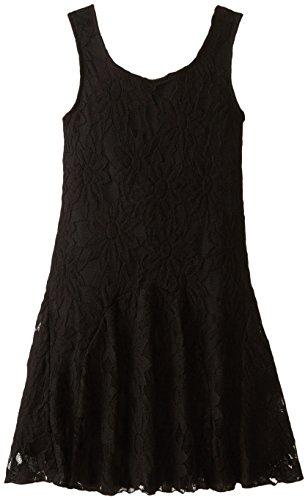 Speechless Big Girls' Allover Daisy Lace Tank Dress, Black, 8