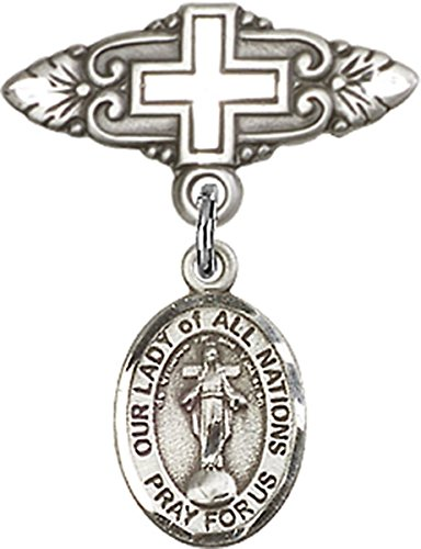 Sterling Silver Baby Badge Cross Pin with Our Lady of All Nations Charm, 3/4 Inch