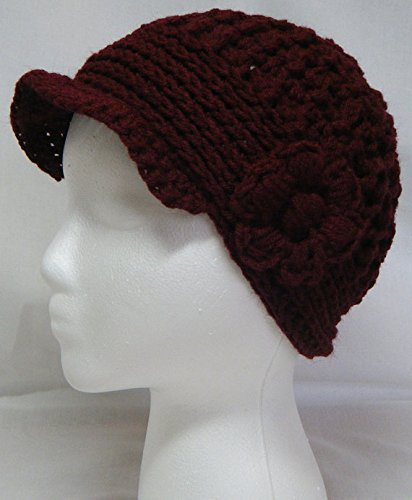 Crocheted Maroon Women's Newsboy Cap with Visor and Flower #122