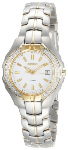 20 Diamonds Womens Watch - Seiko Women's SXDB70 Two-Tone White Dial 20 Diamonds Watch