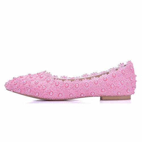 Zapatos De Blanco Ballets 01WL Pisos Encaje Punta Ager De Vestir Estrecha Zapatos Pink Boda De De Boda De Flower Fiesta Mujeres Moojm Pisos Zapatos Zapatos De XRnxYzw