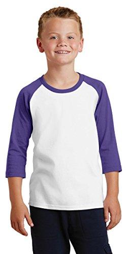 Youth Poly T-shirt - Port & Company Youth 50/50 Cotton/Poly 3/4-Sleeve Raglan T-Shirt, White/Purple, X-Small