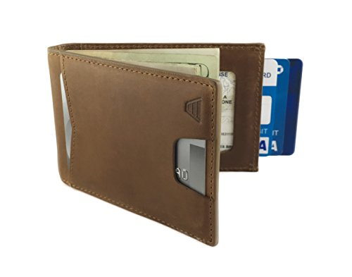 Andar Leather Slim RFID Blocking Minimalist Bifold Wallet - The Apollo (Tan) ()