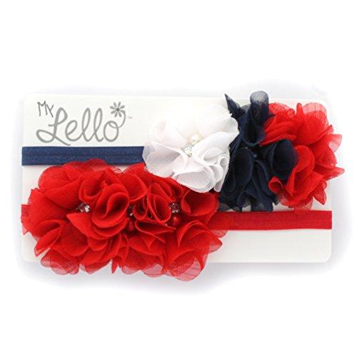 My Lello Infant Baby Flower Headbands Chiffon Fabric Beaded Trio 2-Pack