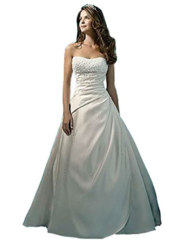 Mulanbridal Satin Classic A-line Beaded Strapless Chapel Train Wedding Dress Brides Dresses Ivory 14