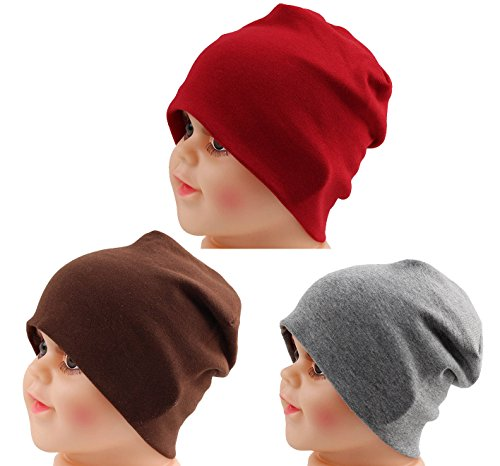 Dark Knit Hat Red (JAKY Global Cotton Kids Beanie Hat for Cute Baby Boy/Girl Toddler Ribbed Knit Children Winter Cap(Dark Red-Grey-Brown(3pcs))
