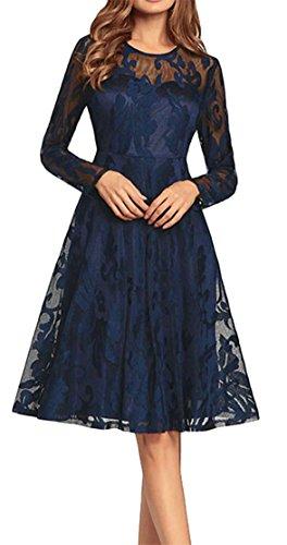Party Swing Women Pleated Blue Elegant Long Midi Jewelry Lace A Sleeve Cromoncent Line Dress 6wZqxzHW