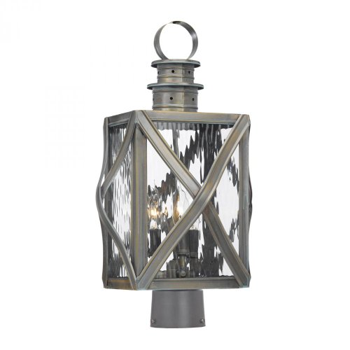 Elk 2143-WB Dune Road 3-Light Outdoor Post Lantern with Water Glass Shade, 11 by 19-Inch, Olde Bay Finish