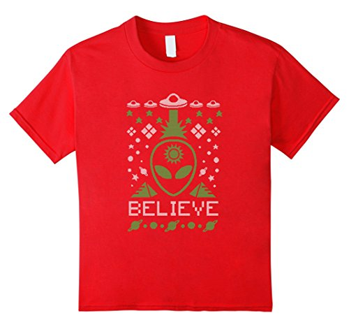 Kids Alien Believe Ugly Christmas T-Shirt