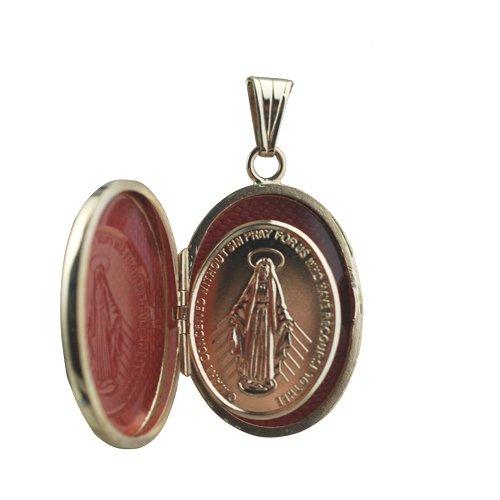 Or Jaune 9ct - 375/1000 27x20mm ovale gravé main miraculeuse Médaillon de médaille