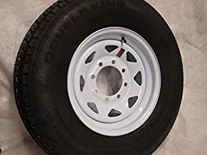 "16"" White Spoke Trailer Wheel 8 Lug with Radial ST235/80R16 Tire Mounted (8x6.5) bolt circle"