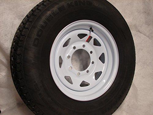 "16"" White Spoke Trailer Wheel 8 Lug with Radial ST235/80R16 Tire Mounted (8x6.5) bolt circle"