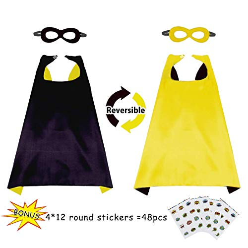 Boys&Girls Superhero Cape+Mask Set and Stickers - Kids Super Hero Party Pretend Play Costume (Black-Yellow) -