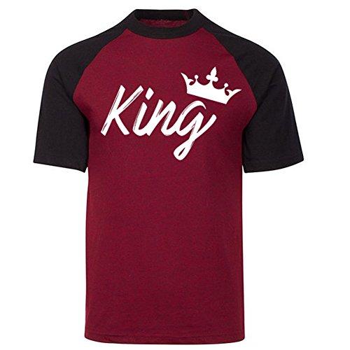KING QUEEN CROWN HANDWRITING COUPLE MATCHING PREMIUM CONTRAST RAGLAN SHORT SLEEVE T-Shirt -CRANBERRY CAVIAR / BLACK-Small-(KING ONLY)