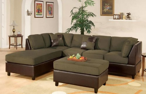 Vinyl Sectional Couch - 3 pc 2 tone Sage Microfiber sectional sofa with reversible chaise and ottoman