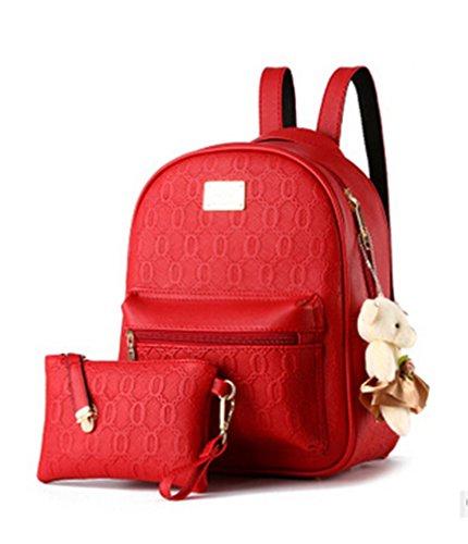 Diseñado Moda Mujer Mochila Mochila escolar de cuero estilo casual mochilas + pequeñas bolsas Borgoña