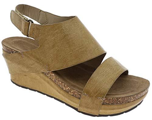 MVE Shoes Women's Open Toe Strappy Platform Sandals, Chantal-6 Nude 6